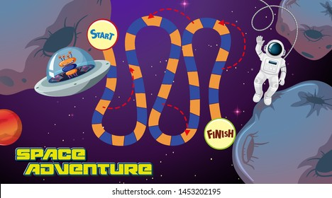 Space adventure board game background illustration
