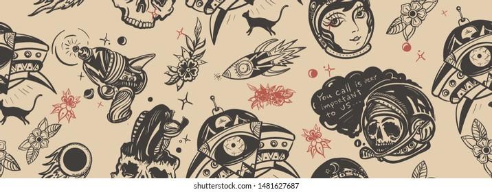 Space adventure seamless pattern. Retro sci-fi fantastic art. Old school tattoo style. Dead spaceman, girl astronaut, gun blaster, rocket, meteor. Pop culture tattooing background