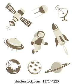 Space and air transport icons set with planets