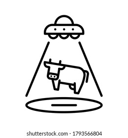Space alien abduct cow icon. Space alien beamed light on the ground with cow flying to the sky. Line vector. Isolate on white background.