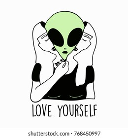 space alien vector illustration drawing