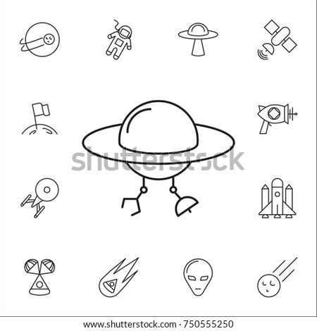 Space Aliens Ufo Icon Set Space Stock Vector Royalty Free