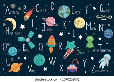 Space alphabet for children. Cute flat ABC with galaxy, stars, astronaut