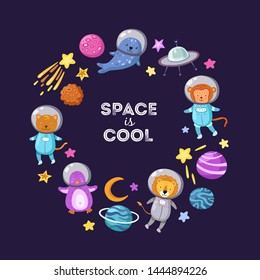Space animals background. Cute baby animal astronauts flying kid pets cosmonauts cartoon funny spaceman science vector poster. Astronaut and spaceship, penguin and monkey, lion and seal illustration