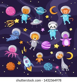 Space animals. Cute baby animal panda cat lion giraffe monkey octopus penguin astronauts flying kid pets cartoon science vector. Illustration of cosmonaut cat and lion, astronaut animal and spaceship