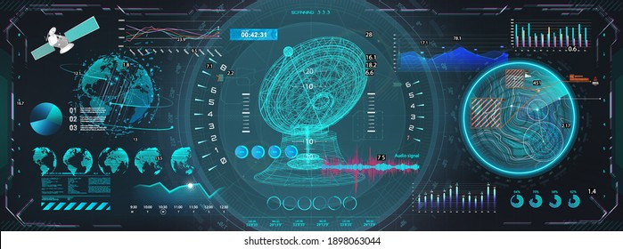 Space antenna with HUD interface display. Sci-fi dashboard with 3D objects - satellite, earth globe, antenna and Futuristic User Interface screens with HUD UI. Control center with hi-tech scanning
