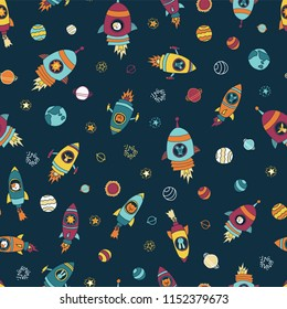 Space astronaut animals on blue seamless vector background. Planets, stars. Astronaut mouse, cat, giraffe, dog, lion in rocket ships. Space kids pattern. For children, paper, fabric, back to school.
