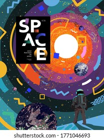 Space and astronaut banner template. Vector illustration of cosmonaut stands on surface, planets, solar system, abstract bright design of the galaxy universe. Drawings for poster, banner or postcard