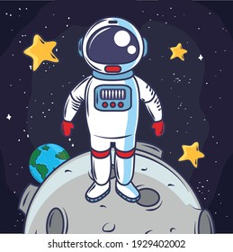 space astronaut moon eart stars