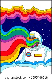 Space and Astronaut Psychedelic Poster, 1960s Hippie Art Stylization