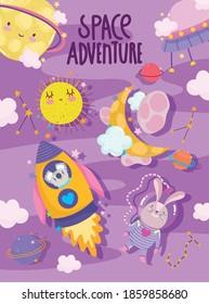 space astronaut rabbit koala moon planets adventure galaxy cartoon vector illustration