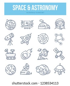 Space & astronomy doodle icons collection. Astronaut, planets, solar system, spaceship,  space station. Vector hand drawn illustrations for website and printing materials