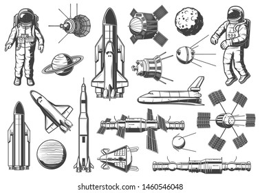 Space and astronomy isolated monochrome icons. Vector spaceman suit and rocketship, aircraft and shuttle, exploration of cosmos. Planet on orbit, rocket and satellite, spacecraft and launch missile