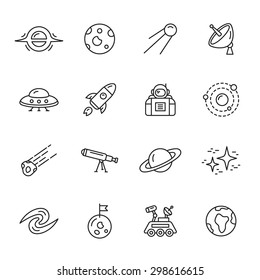 Space and astronomy thin line icons