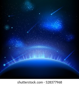 Space background with blue light from behind of the planet. EPS 10 vector file included