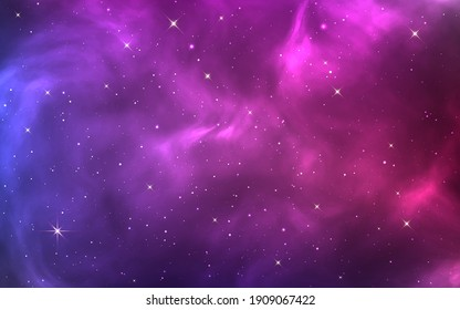 Space background. Bright purple cosmos. Magic stardust and shining stars. Colorful nebula and milky way. Realistic blue galaxy. Beautiful outer space. Starry universe. Vector illustration.