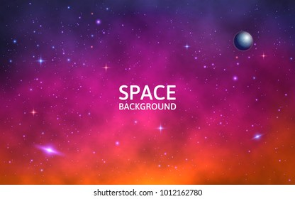 Space background. Colorful galaxy with nebula, planet and stars. Abstract futuristic backdrop. Stardust and shining stars. Vector Illustration for brochures and posters.