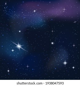 Space background with copy space, stellar nebula. Milky way galaxy in the infinity space. Vector illustration.