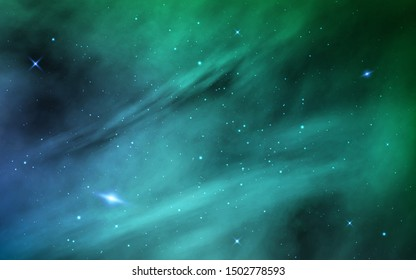 Space background. Cosmos realistic backdrop. Color galaxy and shining stars. Starry nebula with stardust and milky way. Universe with space objects. Vector illustration.