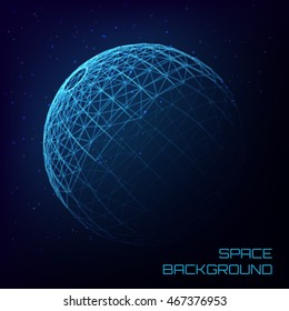 Space background with crystal sphere and luminous stars . Abstract background with shadow for website , flyer, or brochure