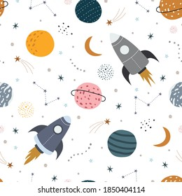 Space background illustration with rocket and stars Seamless vector pattern hand drawn in cartoon style used for print, wallpaper, decoration, textile fabric.