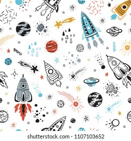 Space Background for Kids. Vector Seamless Pattern with Cartoon Rockets, Planets, Stars and Comets.