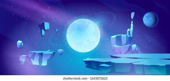 Space background with landscape of alien planet with craters and cracks. Vector cartoon fantasy illustration of blue galaxy sky with gas giant and moon and ground surface with rocks
