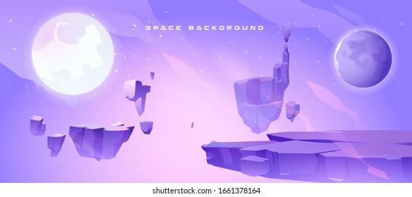 Space background with landscape of alien planet with craters and crack. Vector cartoon fantasy illustration of purple galaxy sky with moon and ground surface with rocks