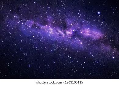Space background with night starry sky and Milky Way. Dark blue nebula