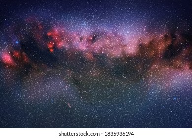 Space background with night starry sky and Milky Way. Red blue nebula