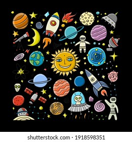 Space Background. Planets of the solar system. Rockets and astronauts. Vector illustration