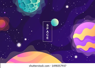 Space background. Planets, universe and asteroids. Template for background, banner, landing, card. Cartoon vector illustration.