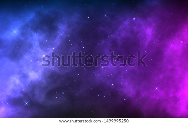 Space background with realistic nebula and shining stars. Colorful cosmos with stardust and milky way. Magic color galaxy. Infinite universe and starry night. Vector illustration.