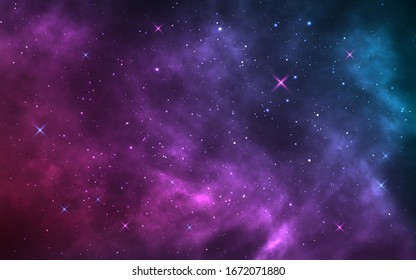 Space background. Realistic starry night. Cosmos and shining stars. Milky way and stardust. Color galaxy with nebula. Magic Infinite universe. Vector illustration.