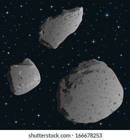 Space background with stars and realistic stone asteroids - asteroid Gaspra and ex asteroids, moons of Mars - Phobos and Deimos. Elements furnished by NASA. Vector