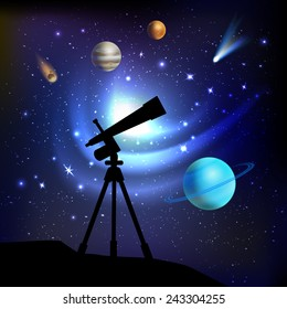 Space background with telescope planets comets and stars vector illustration