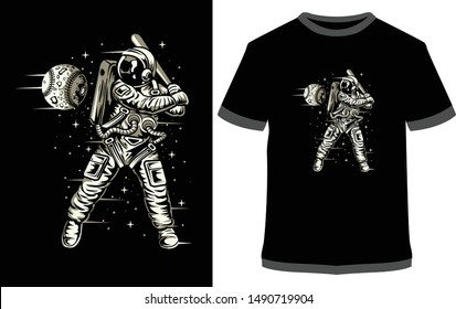 Space Baseball - Vector graphic typographic poster. Vintage motorcycle label, badge, logo, icon or t-shirt