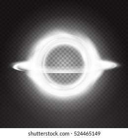 Space black hole isolated on back transparent background. Vector illustration, eps 10. Special light effect bright. Swirl and explosion design object.