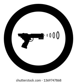 Space Blaster Children's Toy Futuristic gun Space gun shooting blaster wave icon in circle round black color vector illustration flat style simple image