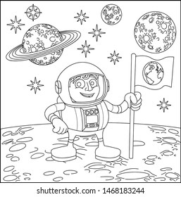 A space cartoon coloring scene background page with astronaut on moons surface and planets