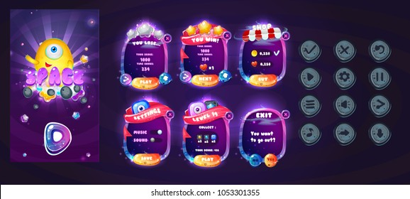 Space cartoon game assets set,galaxy glossy buttons, panel and shiny stars. Space  Popups and game elements.Complete set of graphical user interface, GUI, to build 2D video games.Vector game ui.
