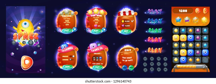 Space cartoon game assets set,galaxy glossy buttons, panel and shiny stars. Space Popups and game elements.Complete set of graphical user interface, GUI, to build 2D video games.Vector game ui