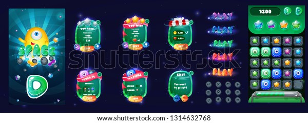 Space Cartoon Game Assets Setgalaxy Glossy Stock Vector