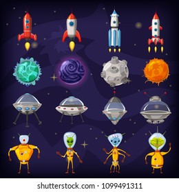 Space cartoon icons set. Planets, rockets, ufo elements on cosmic background, vector, isolated, cartoon style