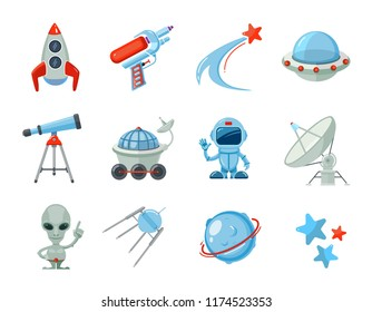 Space cartoon icons. Spaceship rocket astronaut with UFO ship alien characters satelite stars Futuristic flat vector illustrations isolated