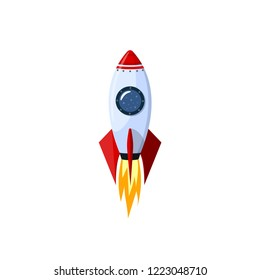 Space cartoon rocket vector illustration