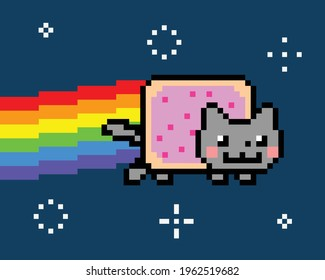 Space Cat creating rainbow among the sparkling star. Hot cat. Cat meme vector illustration