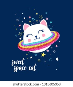 Space cat  and stars illustration vector.