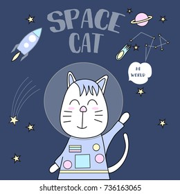 space cat typography for t-shirt print, product, brochure, cover, poster, patch, fabric, hand drawn style. vector illustration