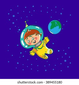 Space child cartoon astronaut, vector character illustration. Baby spaceman in space far away from Eath. Boys dreamy. Space dreamland. Boy space suit. Smile kid astronaut.